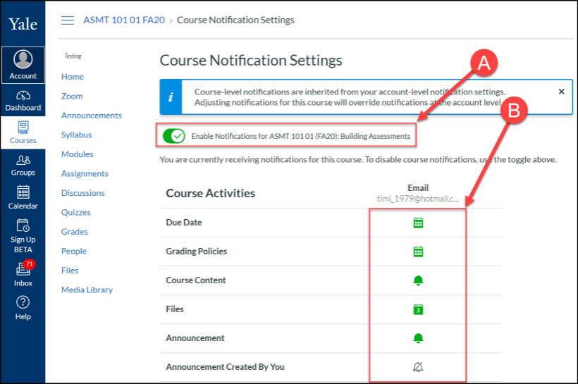 Course notrification options