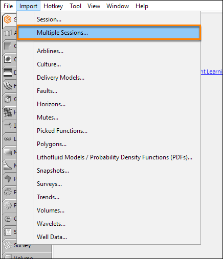 Import multiple sessions