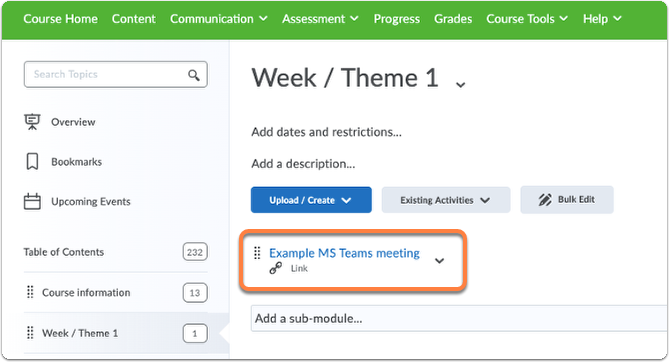 Ms Teams meeting in Content view