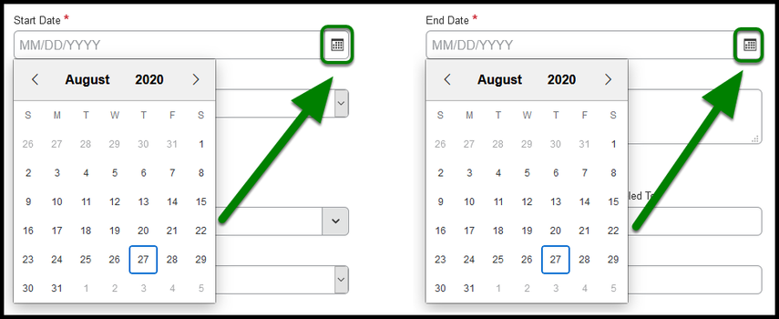 Start Date and End Date options. There is a green arrow pointing to the calendar option on the top right corner of each calendar.