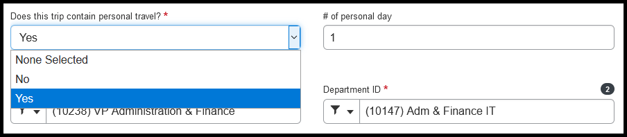 Does this trip contain personal travel? If yes, select the Yes option and use the number of personal day field to add the number of days.