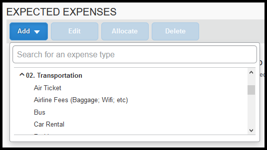 Under Transportation Category there is the Air Ticket, Airline Fees, Bus, and Car Rental expenses.