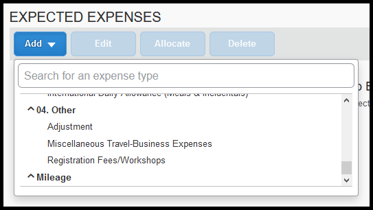 Under the Other Category there are Adjustment, Miscellaneous Travel Business Expenses, and Registration Fees/Workshops expenses.