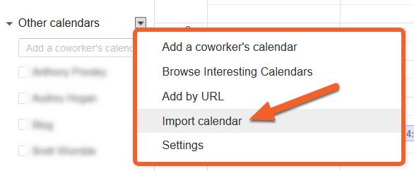 Import the file into Google Calendar.