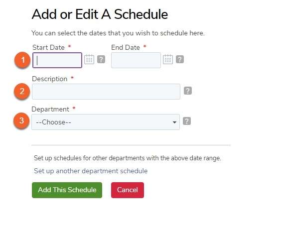 Add a new employee schedule date.