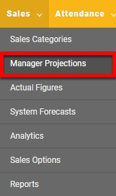 """Go to the """"Manager Projections"""" page."""