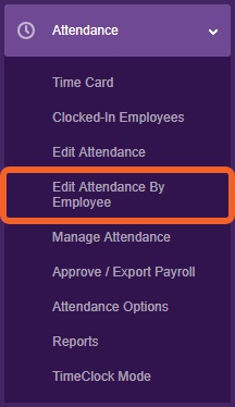 """Go to the """"Edit Attendance by Employee"""" page."""