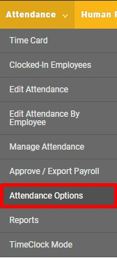 Navigate to the Attendance Options