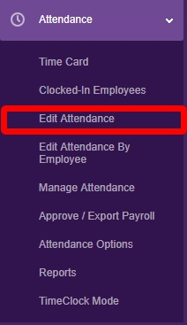 """Navigate to the """"Edit Attendance"""" page."""