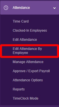 """Navigate to the """"Edit Attendance by Employee"""" page."""