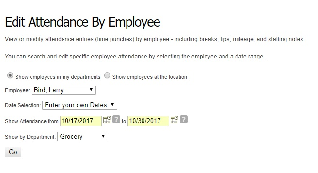 Choose the employee and date range.