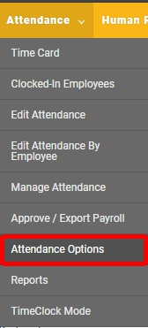 "Go to the ""Attendance Options"" page."