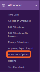 """Go to the """"Attendance Options"""" page."""