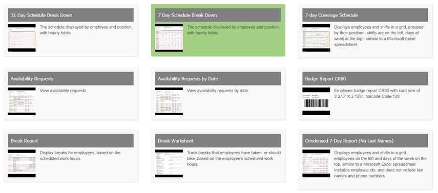 Choose the schedule report that best fits your needs.