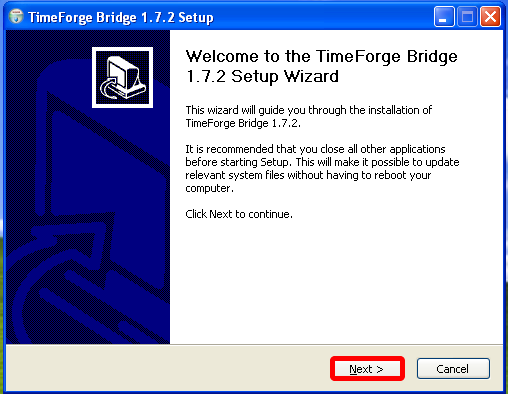 Install the TimeForge Dinerware Bridge software.