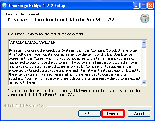 Accept the License Agreement.