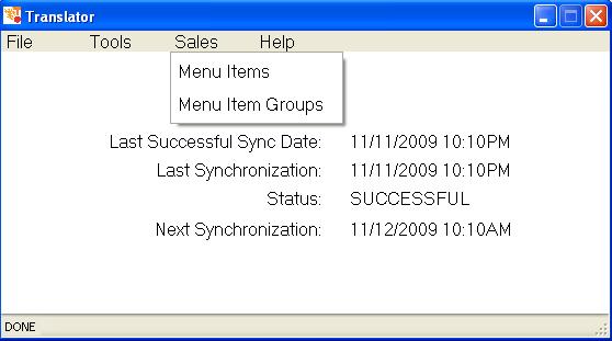 Define menu items for sales forecasting.