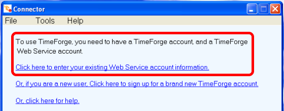 Enter your Web Service username and password