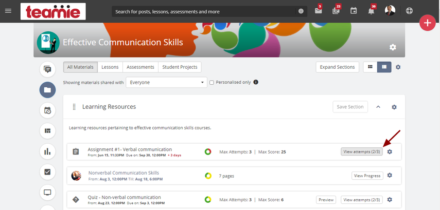 (36) Materials | Effective Communication Skills | Teamie Next - Google Chrome