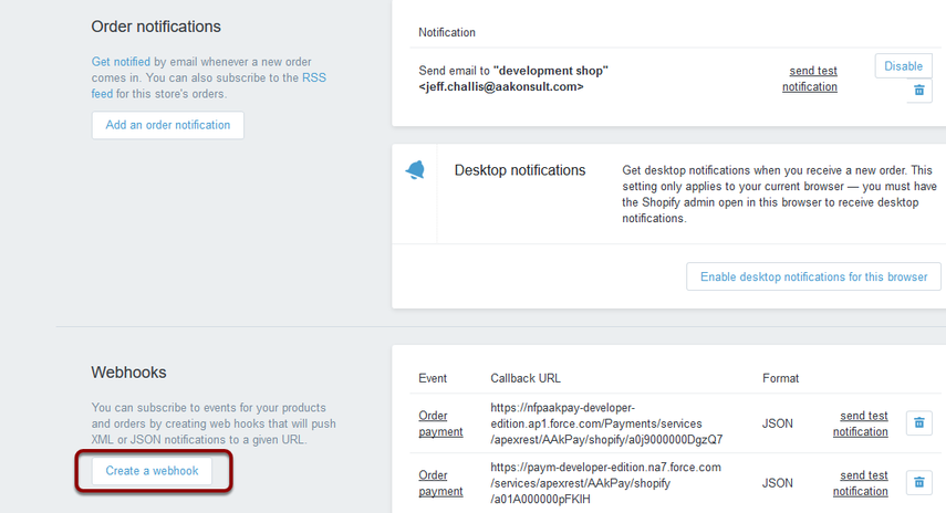 Scroll down to 'Webhooks' and select 'Create a webhook'