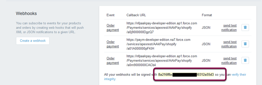 Copy the webhook signing code