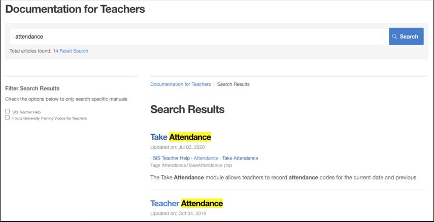 Documentation for Teachers
