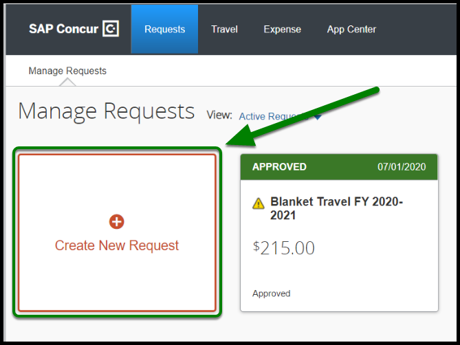 Under the Manage Requests field, there is a green arrow pointing towards the Create New Request button.