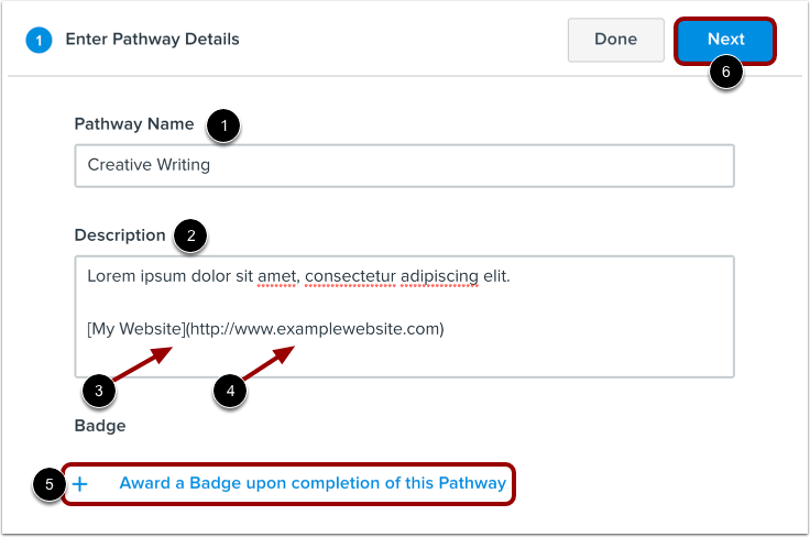 Enter Pathway Details