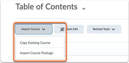 Table of Contents - button Import Course