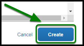The create button is on the lower right-hand corner. There is a green arrow pointing towards the create button.