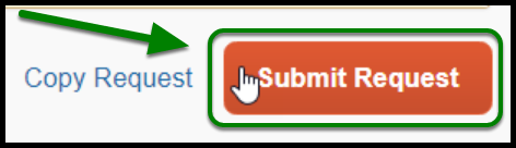 There is a Copy Request blue link and a submit request button. There is a green arrow pointing towards the submit request button.