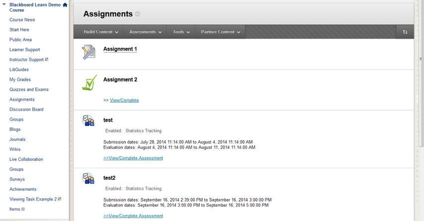 Locate the assignments in your Blackboard course by clicking on the appropriate button in the course menu.