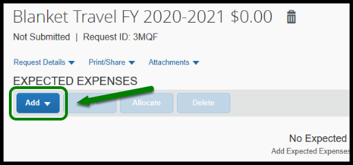 Green arrow pointing to the Add button under Expected Expenses.