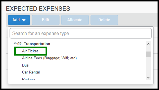 Green highlight showing location of Air Ticket Expense.