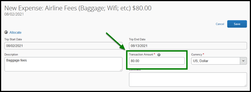 Within Expense types, there is a green arrow and square highlighting the transaction amount.