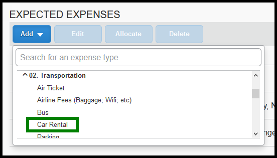 Expense List, select Car Rental expense type. Green highlight showing location.