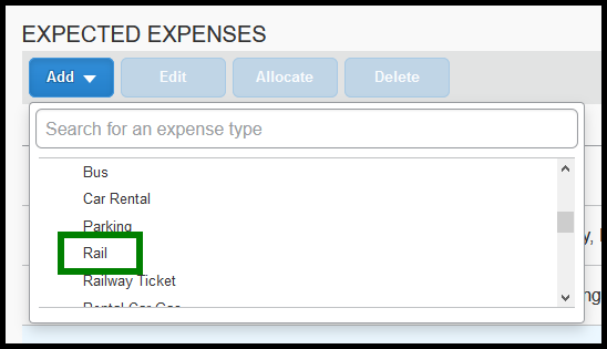 In the expense type table, the rail expense type is highlighted with a green square.