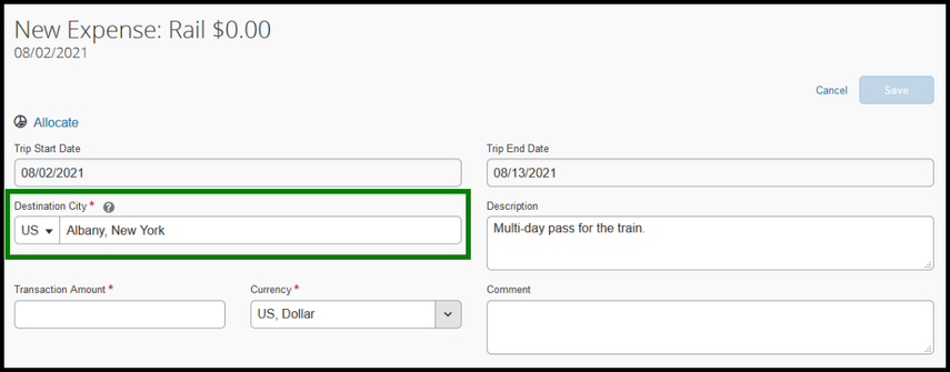 Within the rail expense type, the Destination City box is highlighted with a green square. Confirm the correct city is listed.