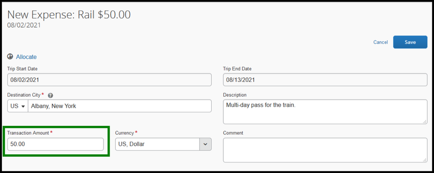 Within the rail expense type, the transaction amount is highlighted with a green square. $50 dollars has been inputted.