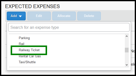 Under Expected Expenses, select Railway Ticket expense.
