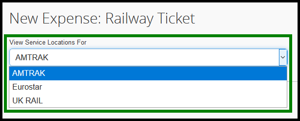 Under View Service Locations For dropdown, select if it will be amtrak, eurostar, or UK rail. Green highlight showing location of dropdown feature.