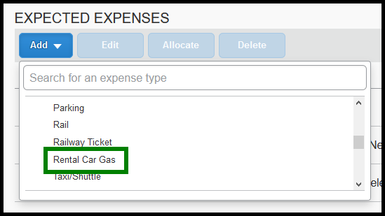 In the expense type list, rental car gas is highlighted with a green square.