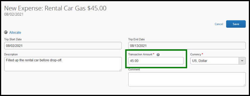 Within the rental car gas expense type, there is a green square highlighting the transaction amount. $45 dollars has been inputted.
