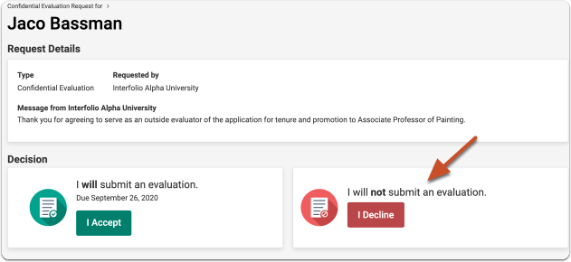 Evaluation Request Response - Review, Promotion & Tenure - Interfolio