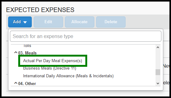 Within the expense type list, there is a green square highlighting the actual per day meal expense option.