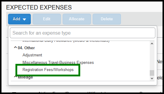 Within the expense type list, there is a green square highlighting the registration fees/workshops option.