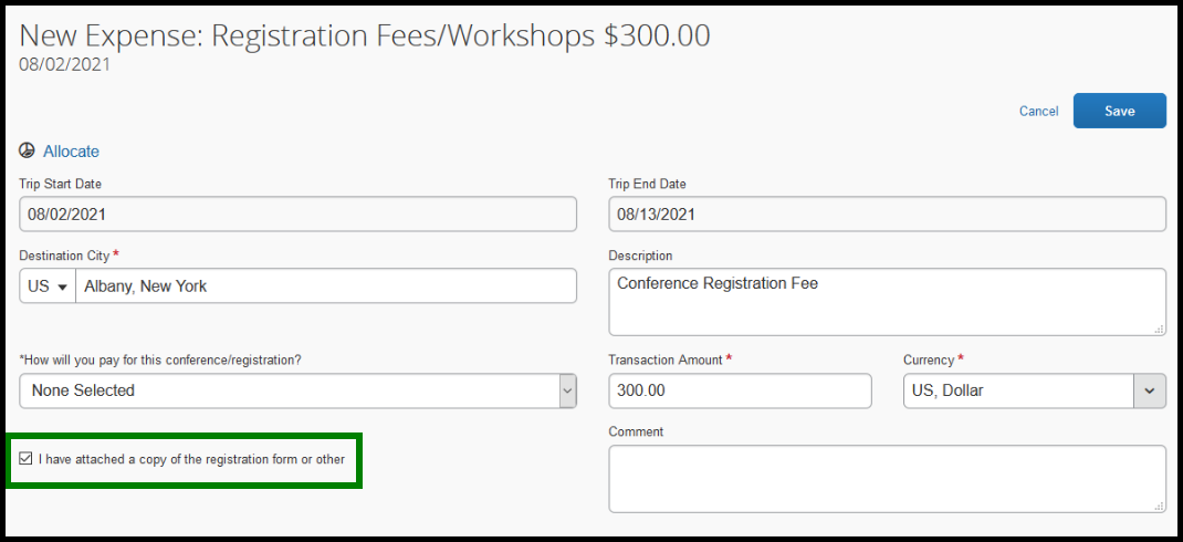 """Next to the comment text box, there is a green square highlighting the following text, """"I have attached a copy of the registration form or other."""" There is a small checkbox that has been checked."""
