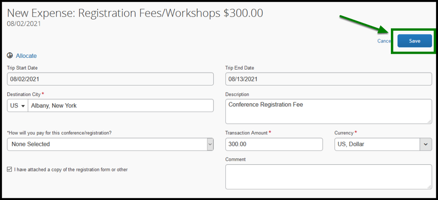 Within the registration fees/workshops expense, there is a green square highlighting the save option.