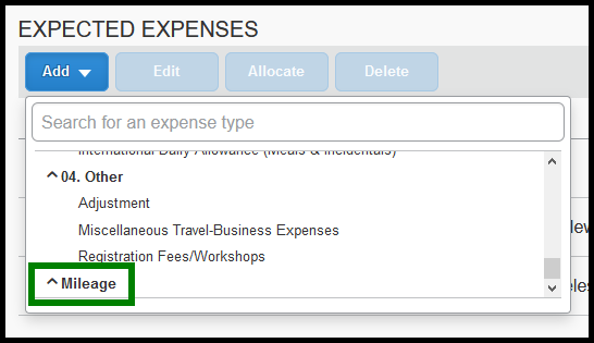 Within the request, there is a zoomed in image of the expense type list. There is a green square highlighting the mileage option.