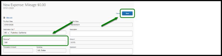 """Mileage expense itemization field. In the middle, there is a green arrow pointing towards the distance field. In the text field, three hundred and seventy eight has been inputted. On the lower-right hand corner, there is a green arrow pointing towards the """"Save"""" button."""